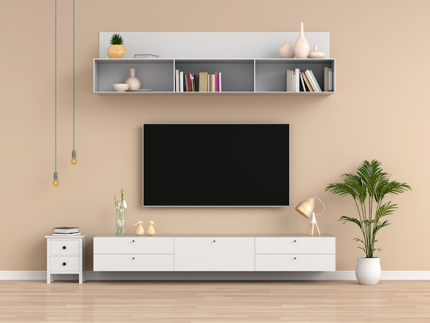 Widescreen tv and sideboard in brown living room
