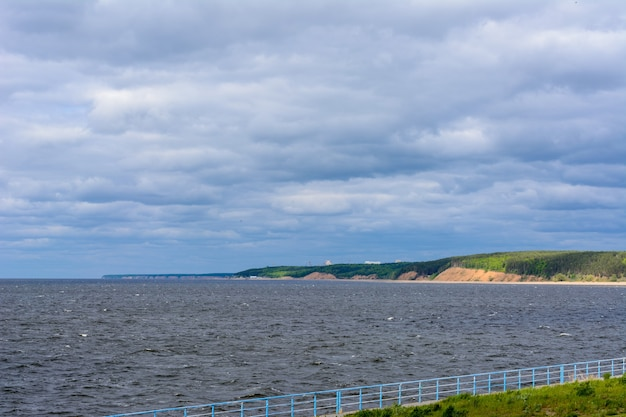 The widest place of the volga river. beautiful landscape on a cloudy summer day.