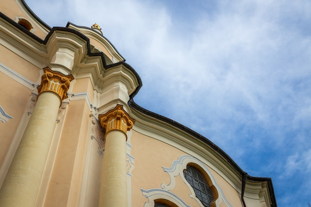 Wieskirche pilgrimage church with clody blue sky  in bavaria, germany