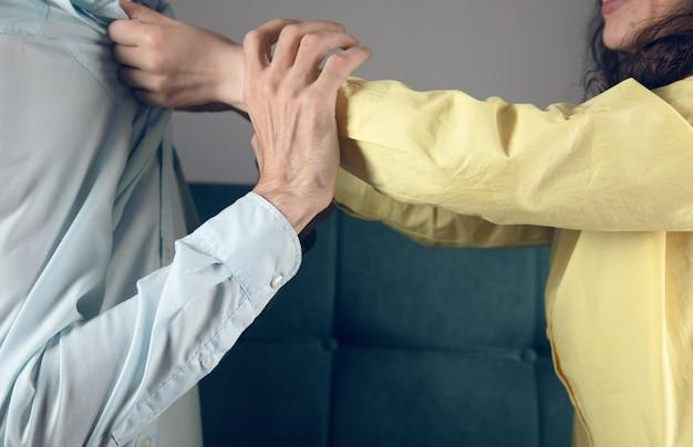 The wife rapes her husband. family quarrel