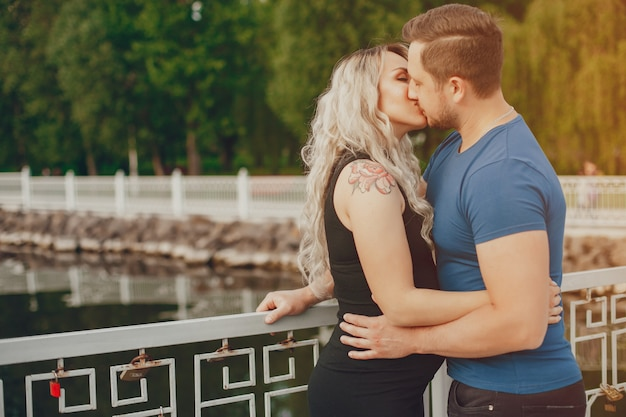 Wife with her husband in a summer park