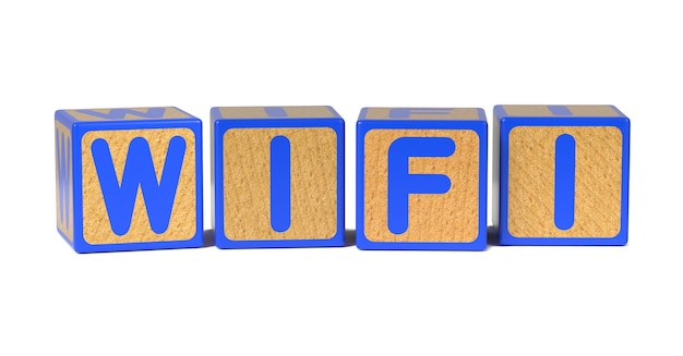 Wifi on colored wooden childrens alphabet block isolated on white.