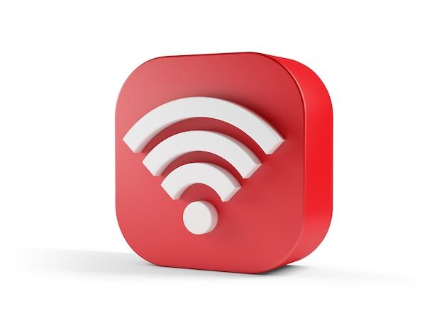 Красный значок wi-fi на белом фоне.