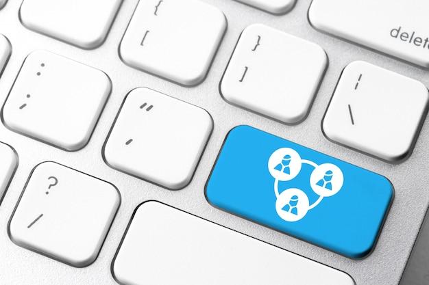 컴퓨터 키보드에 Wifi & 인터넷 비즈니스 아이콘 프리미엄 사진