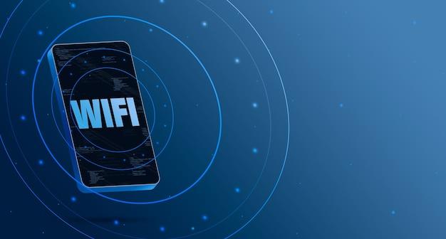 Логотип wifi на телефоне с технологическим дисплеем, умный 3d визуализация