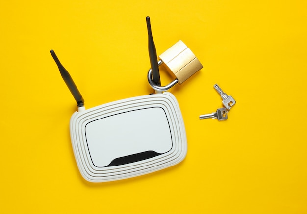 Wifi router with lock isolated on yellow