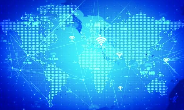 Значок wifi оживить фон. сетевые технологии концепции