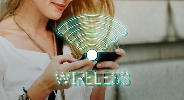 ワイヤレスインターネットwifiアイコンのコンセプト