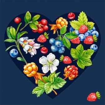 Лесные ягоды в форме сердца на темном фоне