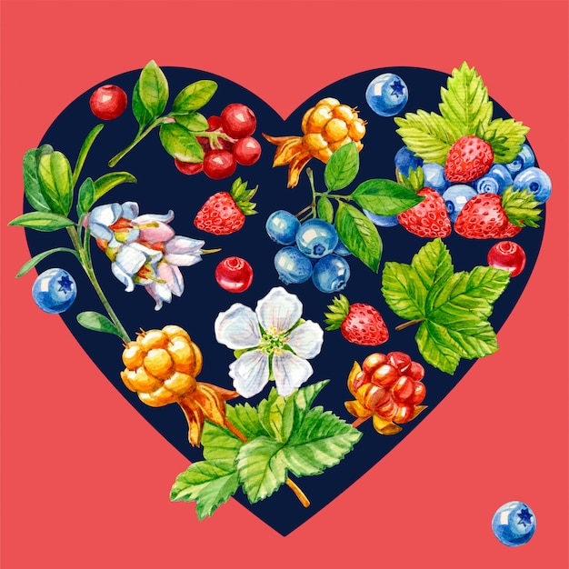 Лесные ягоды в форме сердца