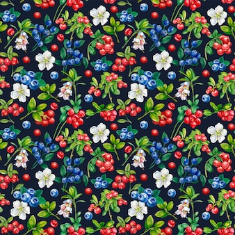 Wild berries seamless pattern. lingonberry, bilberry, flowers