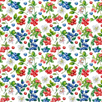 Wild berries seamless pattern on white background