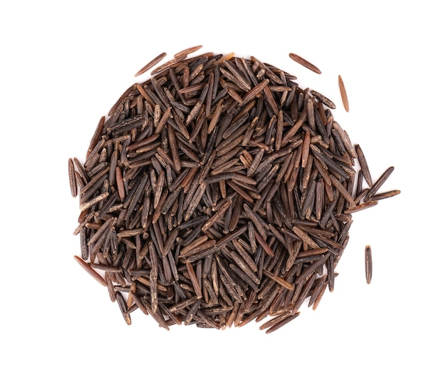 Wild black rice, isolated on white background. top view.