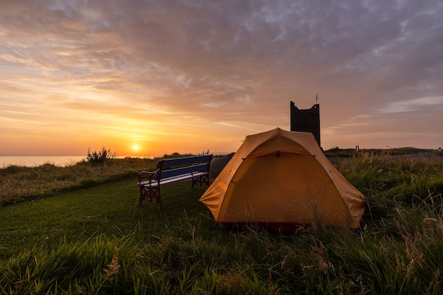 Wild camping at o'dowd castle at sunrise