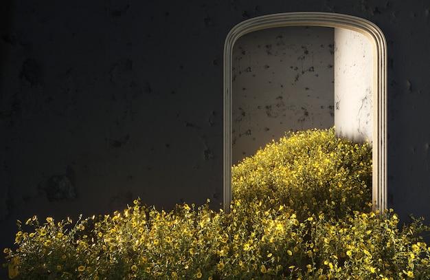 野の花が部屋に落ち、コピースペースのある抽象的なインテリアコンセプト。 3dイラスト