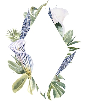 Wild flowers animal skin print, tropical leaves frame. exotic floral border
