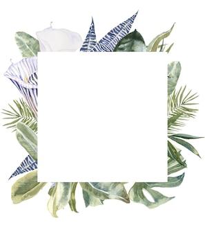野生の花、アニマルスキン、熱帯の葉のフレーム