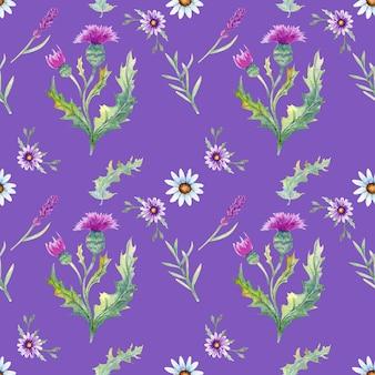野生の花の背景。シームレスなパターン。野生の花の背景水彩。