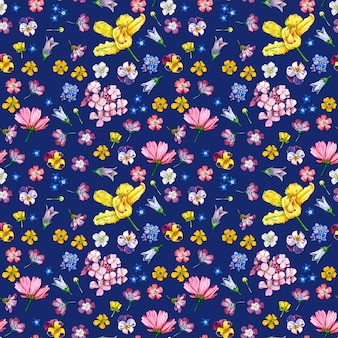 Wild flowers seamless pattern on dark background