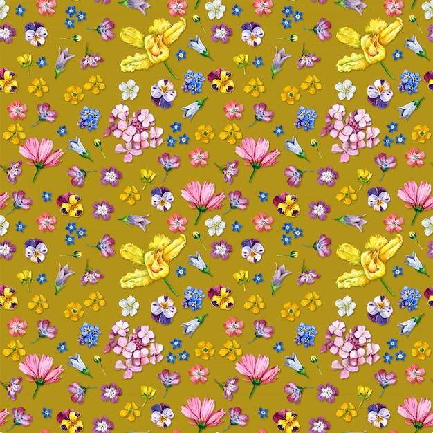 Wild flowers seamless pattern on yellow background