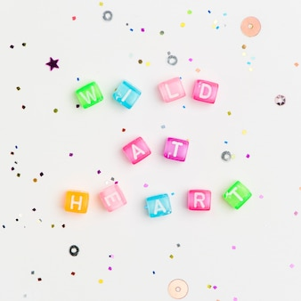 Wild at heart beads lettering word typography