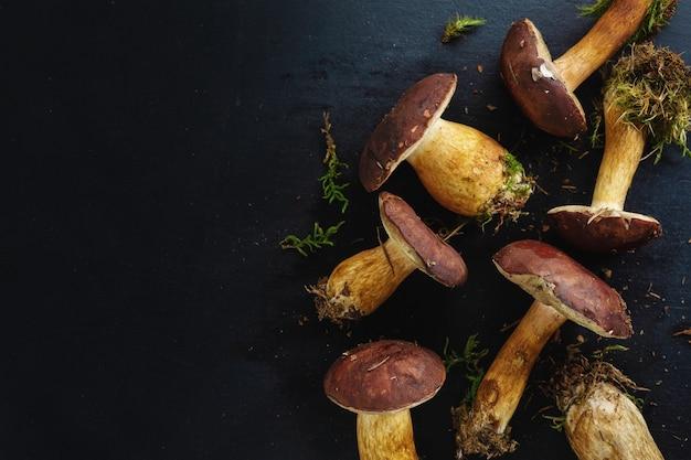 어둠 속에서 요리를위한 준비 숲에서 야생 버섯.