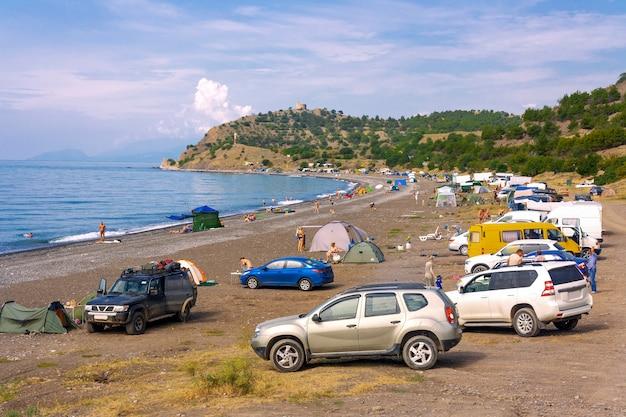 Wild, non-equipped beach on the shore of the black sea in the crimea