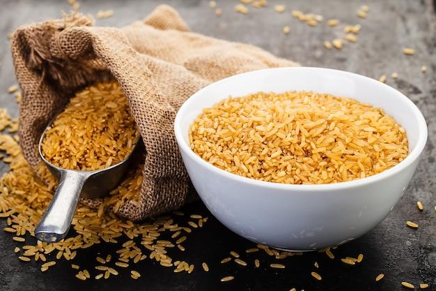 Wild rice in ceramic bowl on rustic