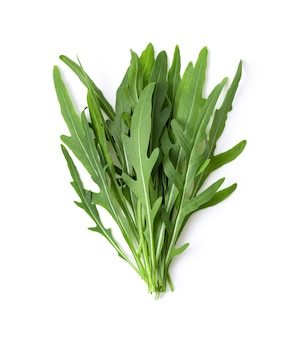 Wild rocket leaves isolated on white backbground top view