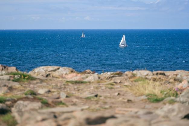 Wild rocky sea coast on kullen peninsula in western sweden, skane