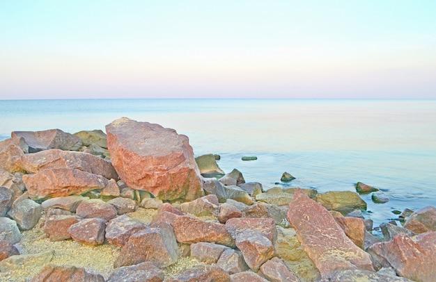 Wild sea landscape with the stony coast. romantic sea landscape.