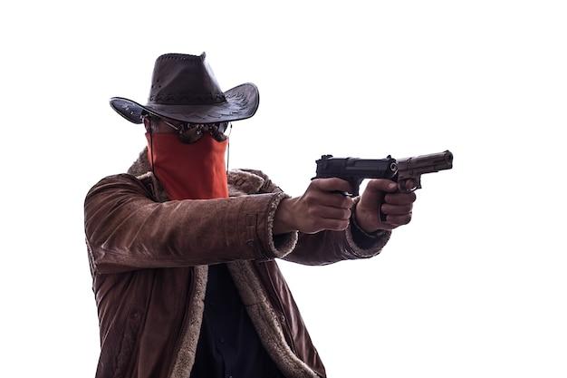 무기를 든 와일드 웨스트 카우보이