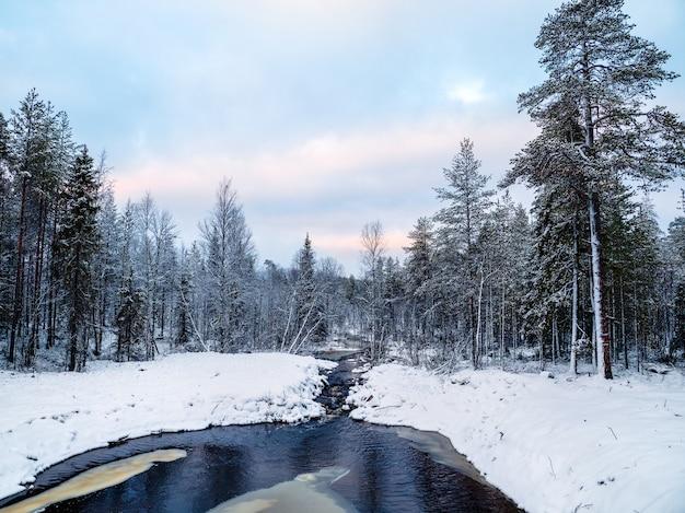 Дикий зимний снежный северный лес с рекой в полярный день.