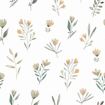 Полевые цветы акварель бесшовные модели с абстрактными растениями и цветами. симпатичный фон.