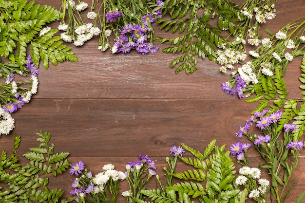 Wildflowers on wooden table