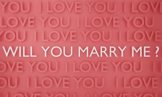 あなたは私と結婚しますか、白いテキスト