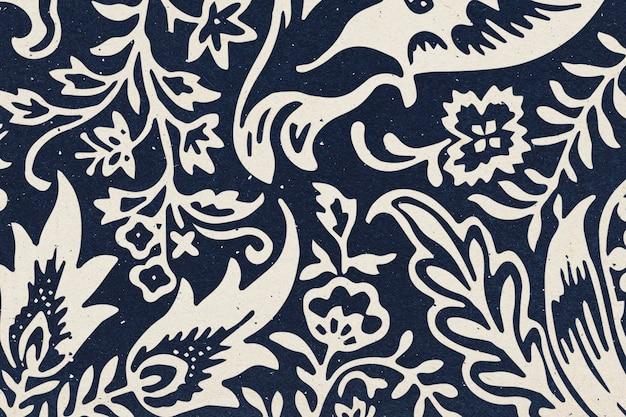 William morris floral background indigo botanical pattern remix illustration