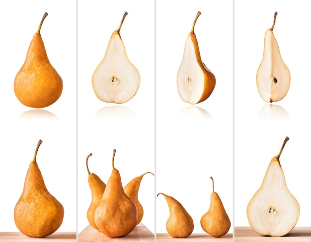 Williams or bartlett pears on wooden table collage of set photos