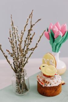 버드 나무 가지, 튤립, 부활절 케이크, 진저