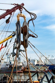 The winch onboard the fishing vessel on kamchatka