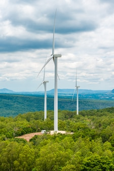 Wind energy turbines in the midst of nature, gorge and trees sky