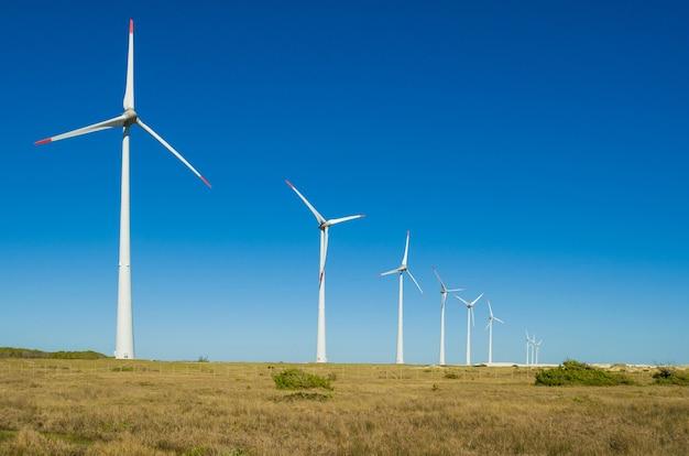 바람 에너지를 생산하는 풍력 터빈이있는 풍력 분야