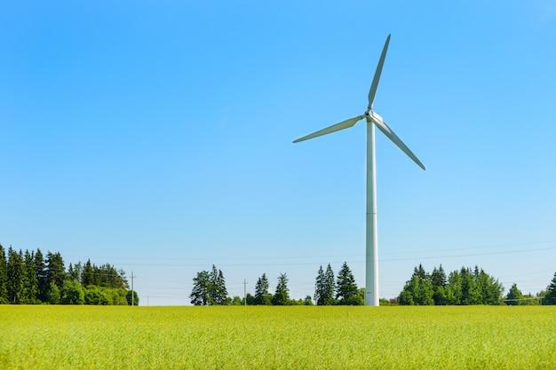 푸른 하늘 배경에 초원에 풍력 발전기.