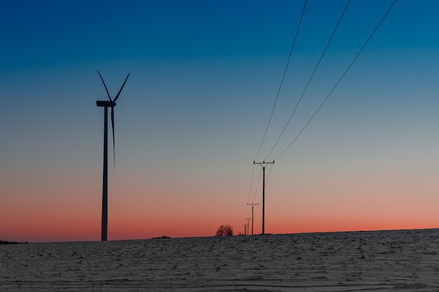 Wind power plant in the field next to a power line at sunset