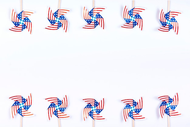 Wind spinners with symbol of american flag