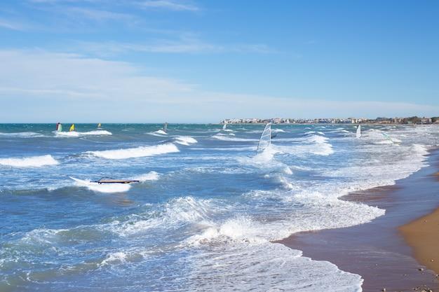 Wind surf in denia oliva in valencian community mediterranean