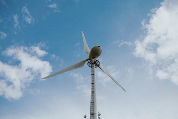 Wind turbine under blue sky renewable energy environmental campaign