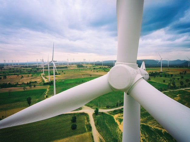 Wind turbine farm from aerial view