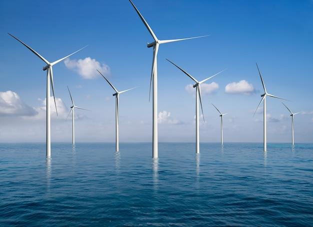 재생 가능 에너지 생산을위한 아름다운 자연 경관의 풍력 터빈 농장 발전기.