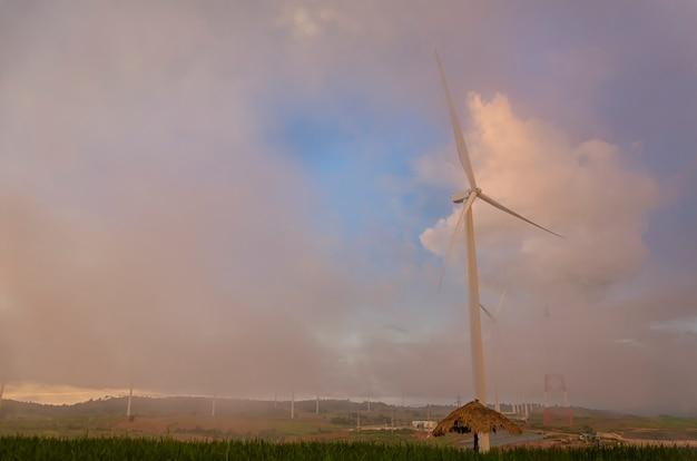 Wind turbine on fog